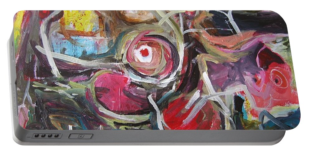 Abstract Paintings Portable Battery Charger featuring the painting Abandoned Ideas3 by Seon-Jeong Kim