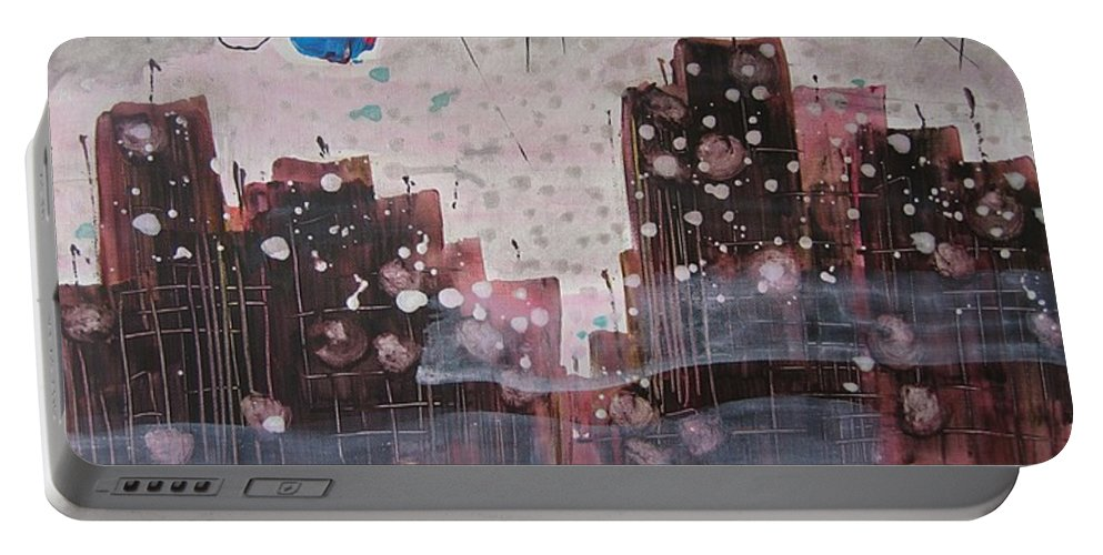 Brown Paintings Portable Battery Charger featuring the painting Cityscape by Seon-Jeong Kim