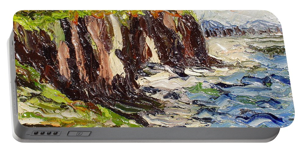 Abstract Paintings Portable Battery Charger featuring the painting Cliff by Seon-Jeong Kim