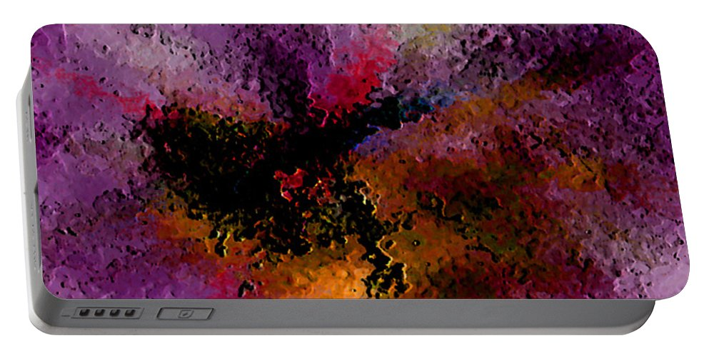 Abstract Portable Battery Charger featuring the digital art Damaged But Not Broken by Ruth Palmer