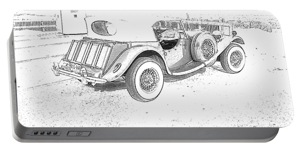 Drawing Portable Battery Charger featuring the photograph Drawing The Antique Car by Michelle Powell