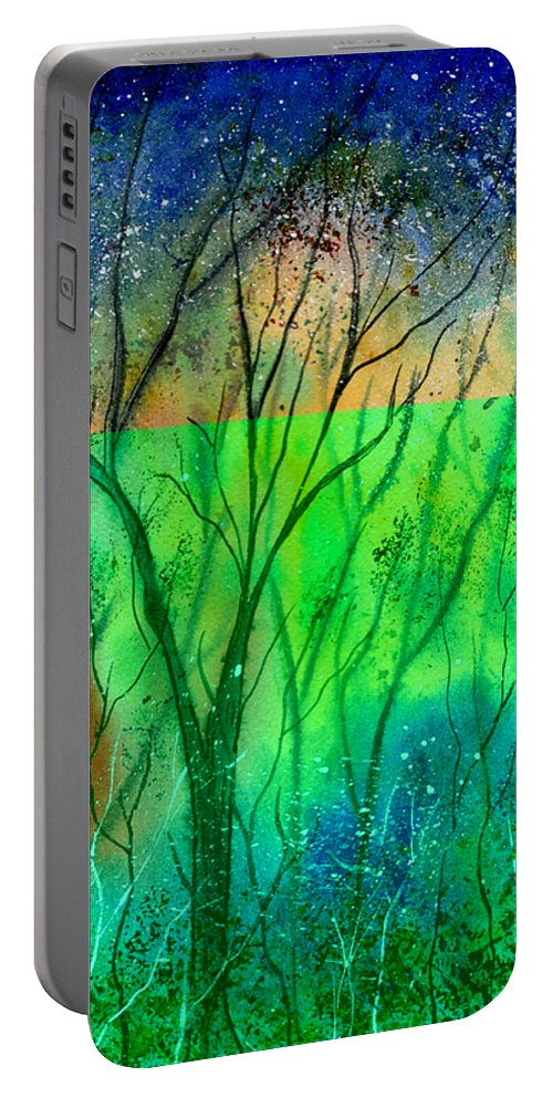 Watercolor Portable Battery Charger featuring the painting Forest Fire by Brenda Owen