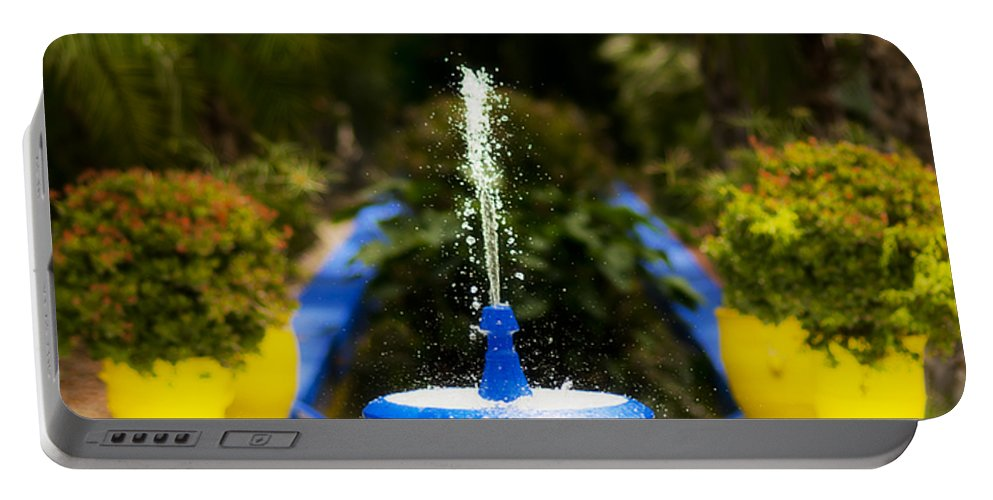 Fountain Portable Battery Charger featuring the photograph Fountain In Jardin Majorelle Morocco by Beth Riser