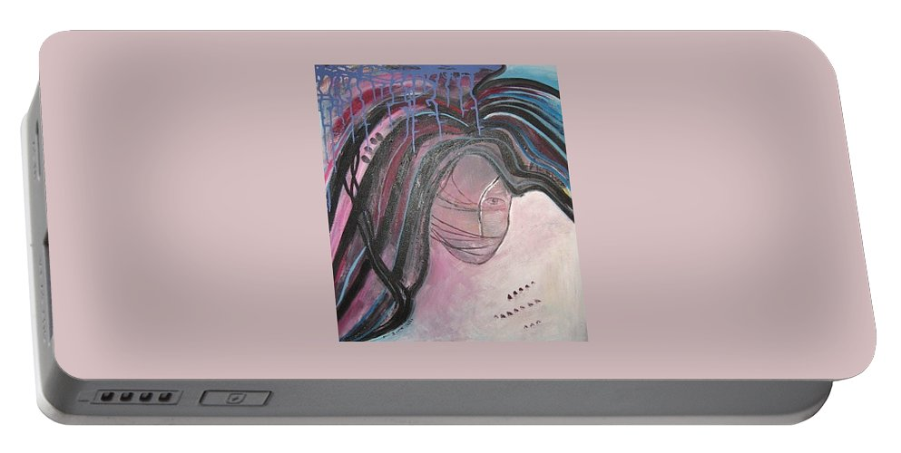 Abstract Paintings Portable Battery Charger featuring the painting I by Seon-Jeong Kim