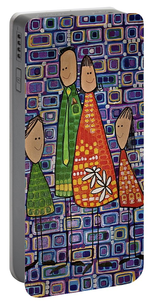 Whimsical Portable Battery Charger featuring the painting One Of Each by Donna Howard