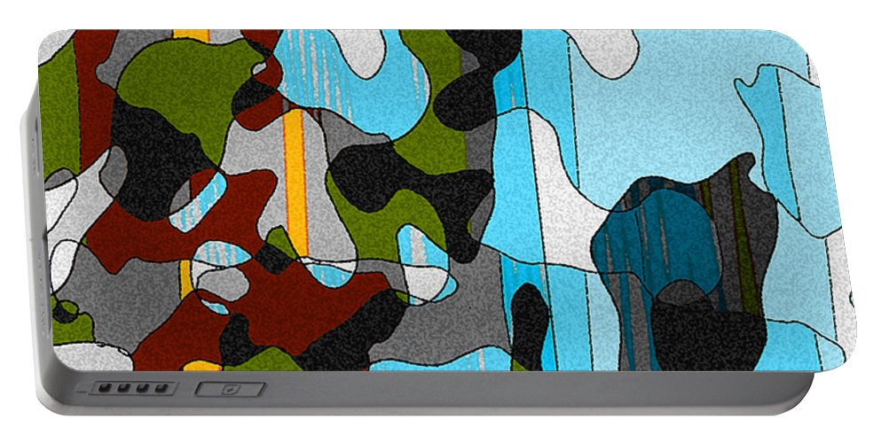 Abstract Portable Battery Charger featuring the mixed media Puddlesponge by Ruth Palmer