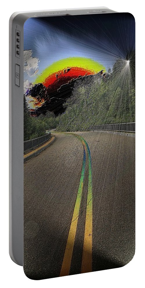 Road Portable Battery Charger featuring the digital art Road To Darkness by Michael Damiani