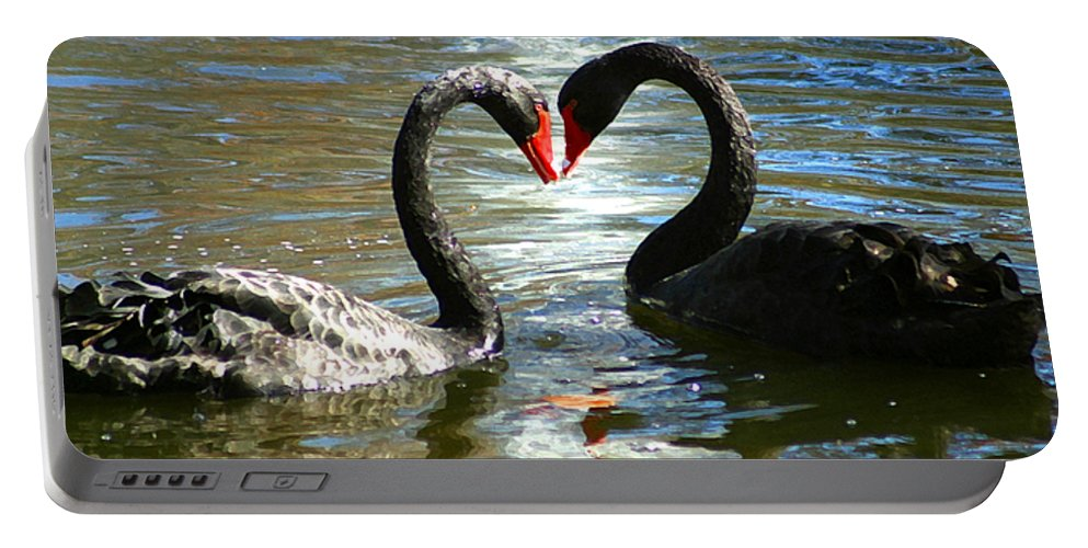 Swan Portable Battery Charger featuring the digital art Swan Heart by Anthony Jones
