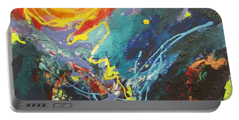 Abstract Paintings Portable Battery Charger featuring the painting The Narrows by Seon-Jeong Kim