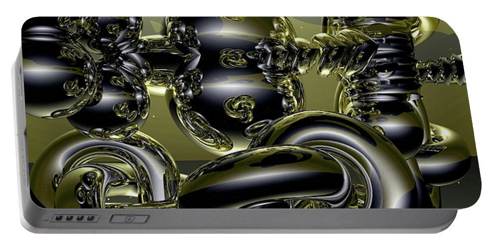 Gold Portable Battery Charger featuring the digital art Twisted Logic by Robert Orinski