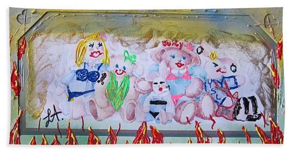 Adult Beach Towel featuring the painting Bad Bears by Lisa Piper