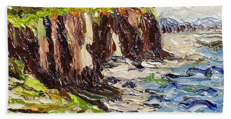 Abstract Paintings Beach Towel featuring the painting Cliff by Seon-Jeong Kim