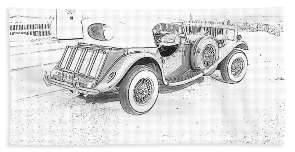 Drawing Beach Towel featuring the photograph Drawing The Antique Car by Michelle Powell