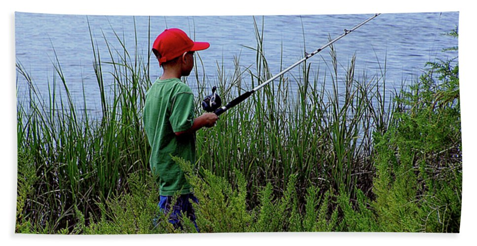 Kids Fishing Beach Towel featuring the photograph Fishing At Hickory Mound by Marilyn Holkham