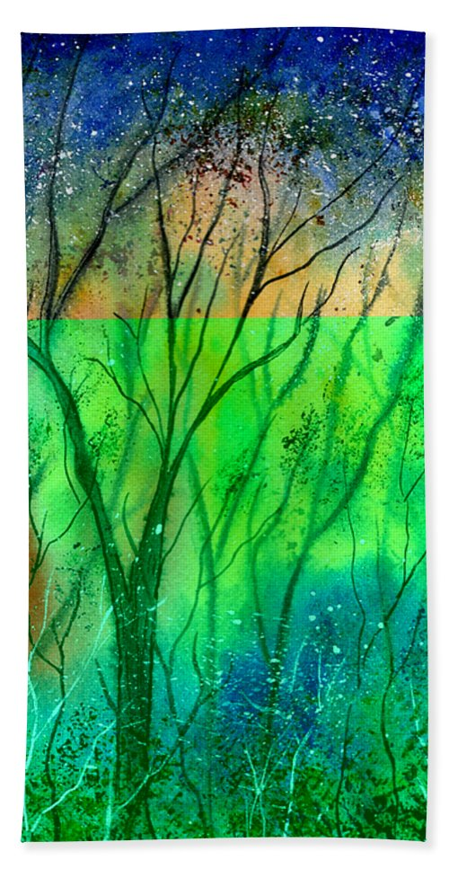 Watercolor Beach Towel featuring the painting Forest Fire by Brenda Owen