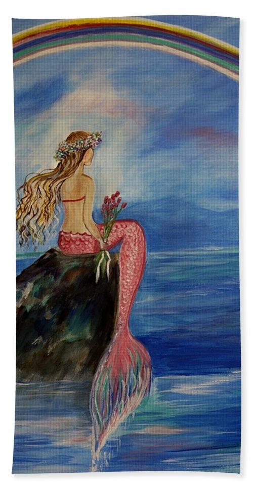 Mermaid Beach Towel featuring the painting Mermaid Rainbow Wishes by Leslie Allen