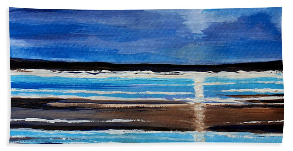 Beach Beach Towel featuring the painting Midnight At The Beach by Elizabeth Robinette Tyndall