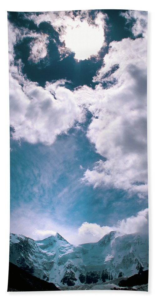 Alone Beach Sheet featuring the photograph Sacred Belukha by Konstantin Dikovsky