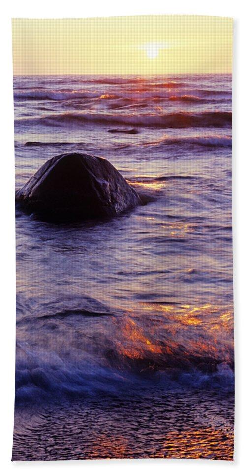 Abstract Beach Sheet featuring the photograph Sunset Lights by Konstantin Dikovsky
