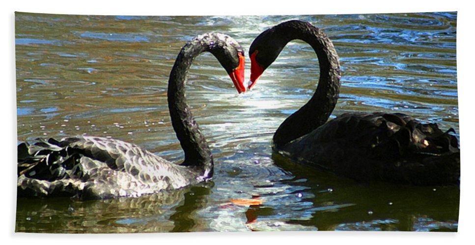 Swan Beach Towel featuring the digital art Swan Heart by Anthony Jones