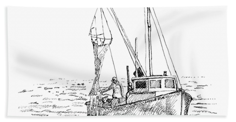 Fisherman Beach Towel featuring the drawing The Vessel Little Jim by Dominic White