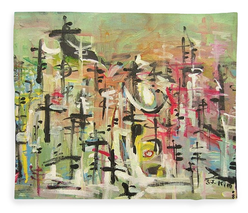 Blow Me Down Painting Fleece Blanket featuring the painting Blow Me Down11 by Seon-Jeong Kim