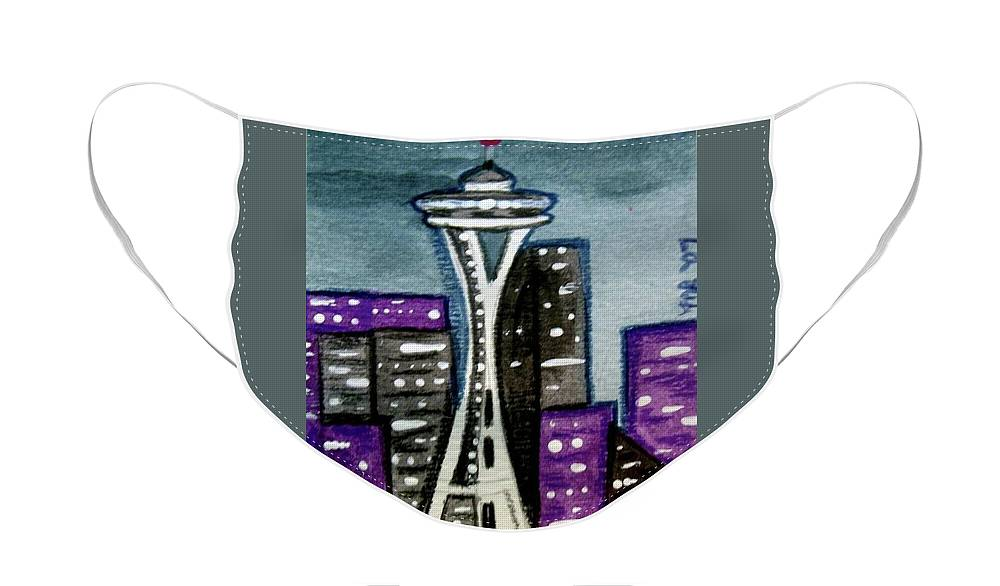 Space Needle Face Mask featuring the painting Seattle Space Needle Cityscape by Monica Resinger