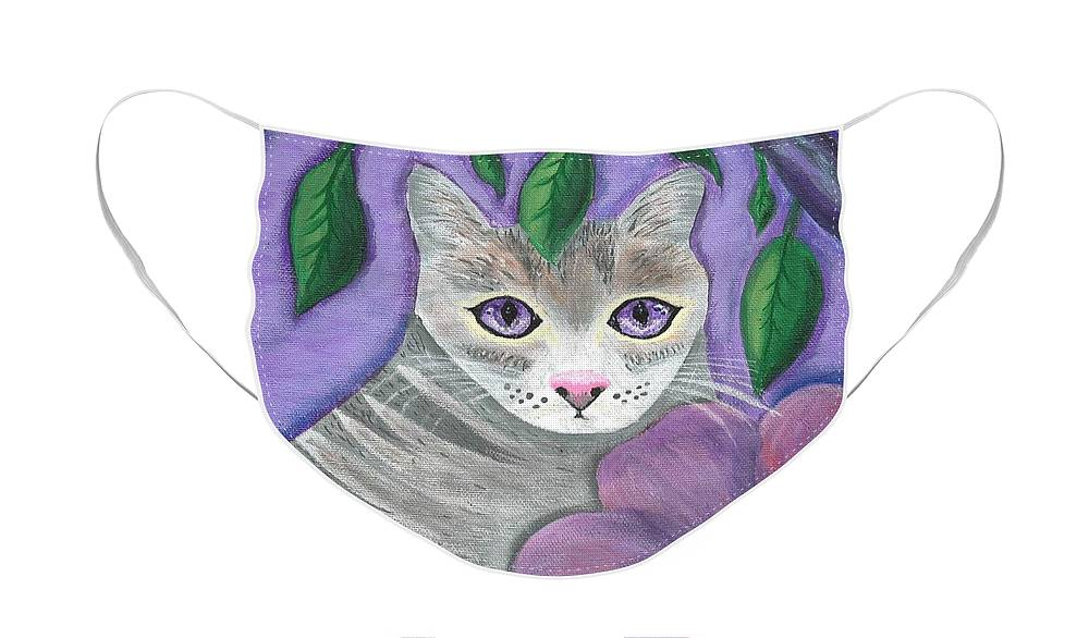 Violet Purple Lavender Eyes Kitty Cat Flower Floral Tabby Grey Face Mask featuring the painting Violet Eyed Cat by Monica Resinger