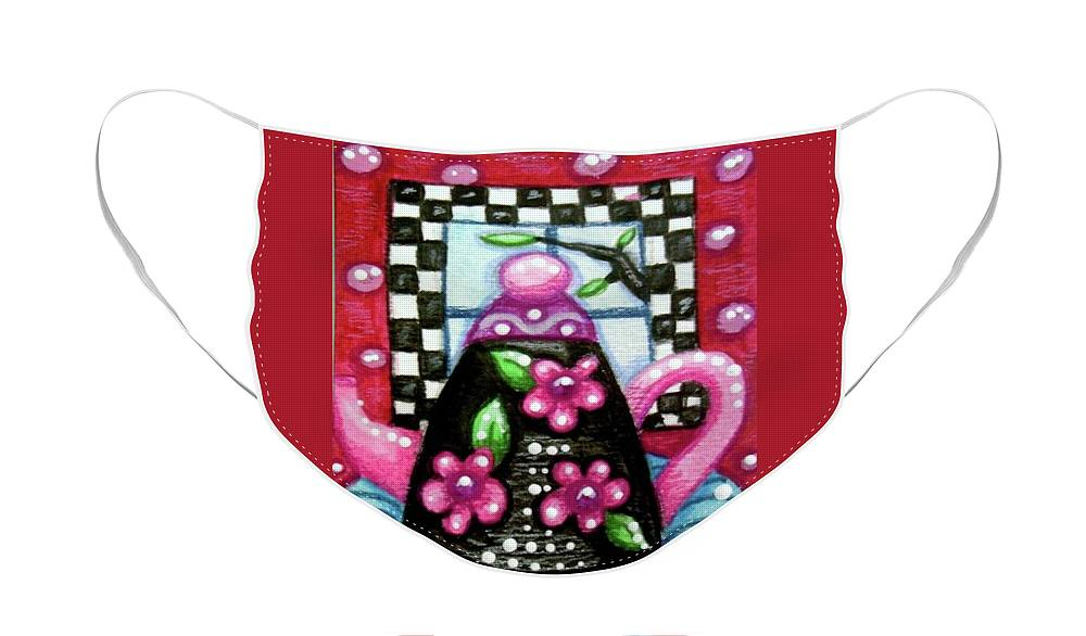 Tea Face Mask featuring the painting Whimsical Black Teapot With Pink Flowers by Monica Resinger