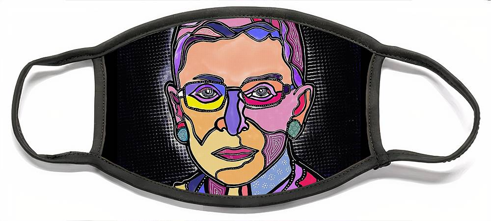 Rbg Face Mask featuring the digital art RBG by Marconi Calindas