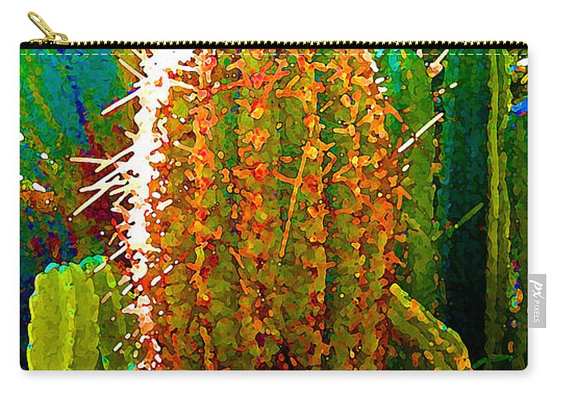 Succulent Carry-all Pouch featuring the painting Backlit Cactus by Amy Vangsgard