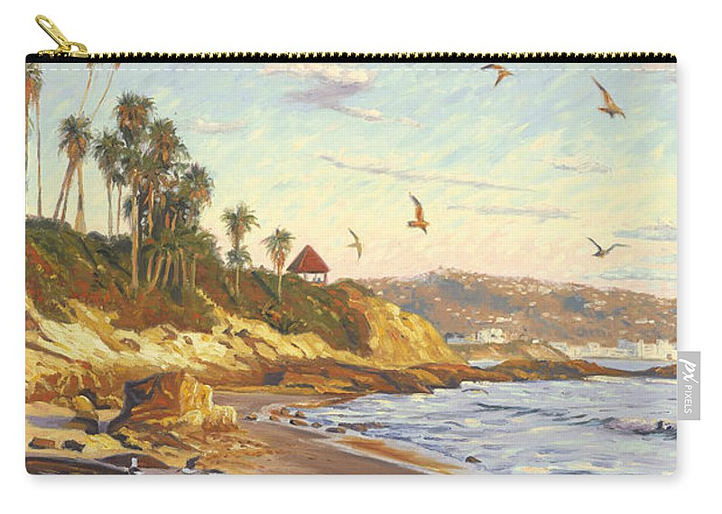 Twilight Carry-all Pouch featuring the painting Heisler Park Rockpile At Twilight by Steve Simon