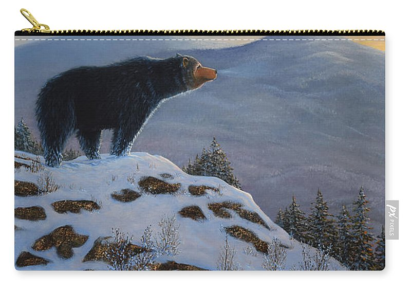 Wildlife Carry-all Pouch featuring the painting Last Look Black Bear by Frank Wilson