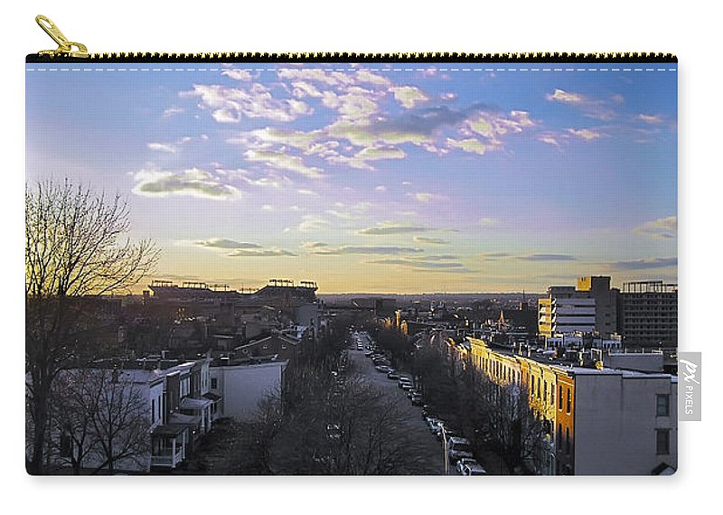 2d Carry-all Pouch featuring the photograph Sunset Row Homes by Brian Wallace