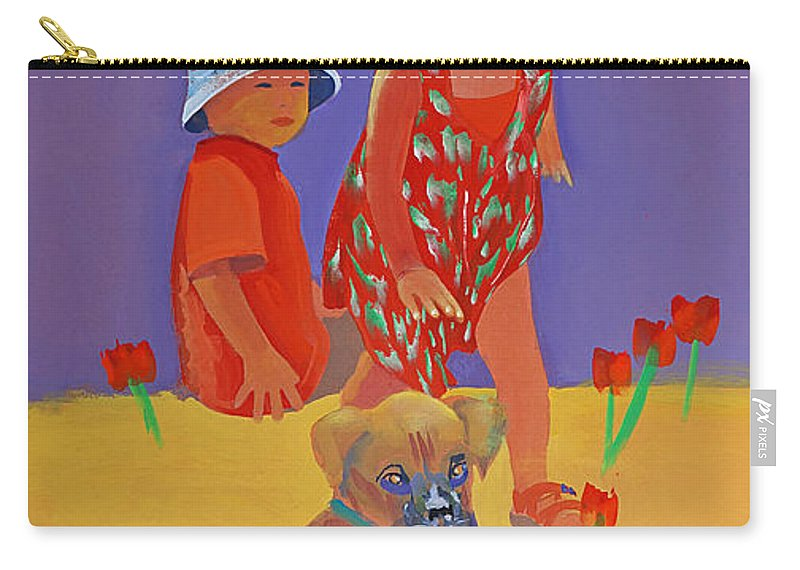 Boxer Dog Carry-all Pouch featuring the painting The Boxer Puppy by Charles Stuart
