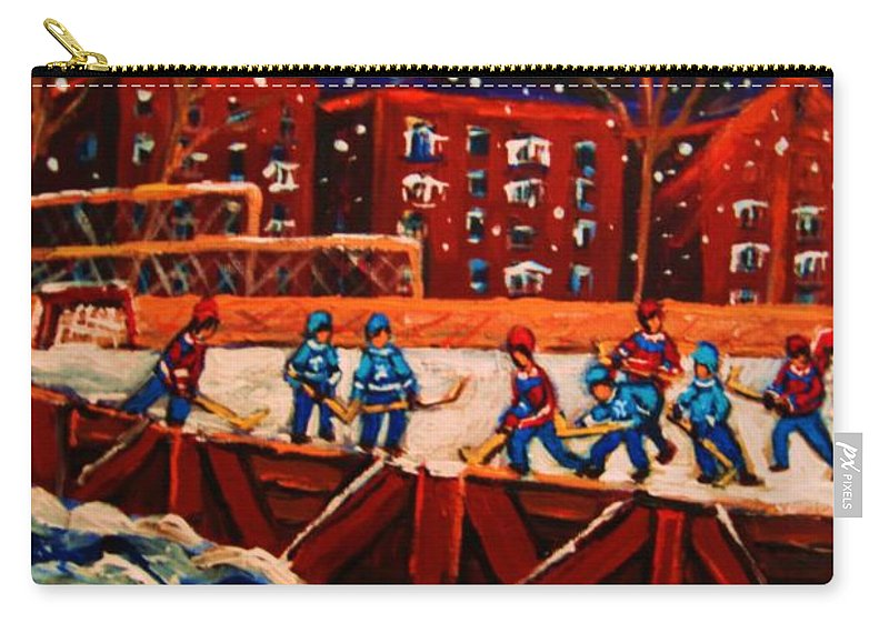 Ice Hockey Carry-all Pouch featuring the painting Snow Falling On The Hockey Rink by Carole Spandau
