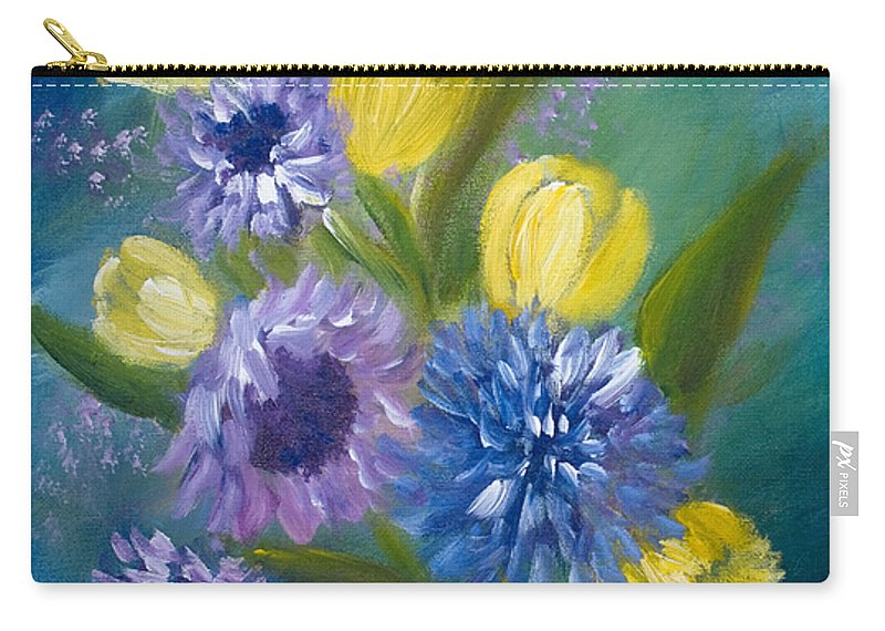 Floral Carry-all Pouch featuring the painting Bonnie Bouquet by Joanne Smoley