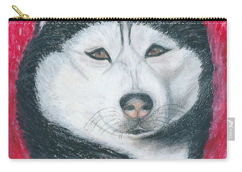 Siberian Husky Carry-all Pouch featuring the drawing Boris The Siberian Husky by Ania M Milo