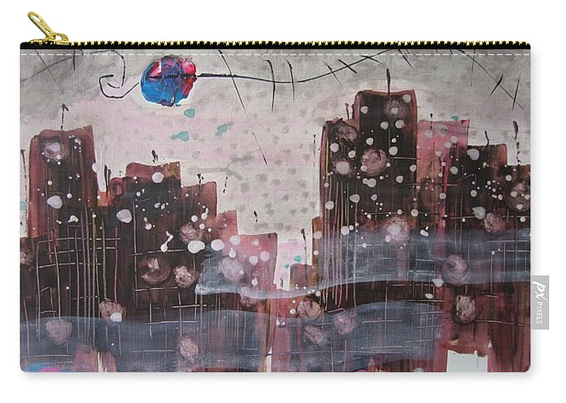 Brown Paintings Carry-all Pouch featuring the painting Cityscape by Seon-Jeong Kim