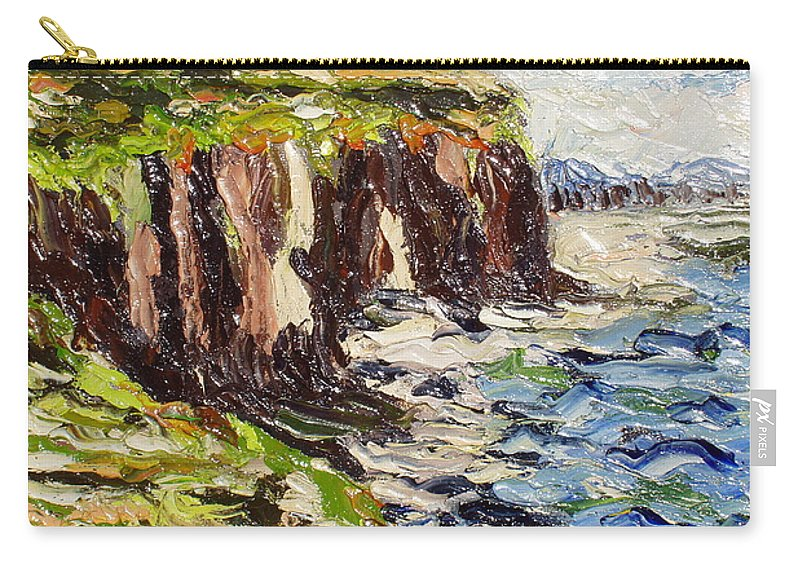 Abstract Paintings Carry-all Pouch featuring the painting Cliff by Seon-Jeong Kim