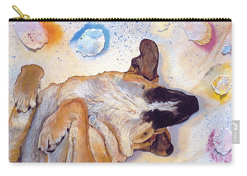 Sleeping Dog Carry-all Pouch featuring the painting Dog Dreams by Pat Saunders-White
