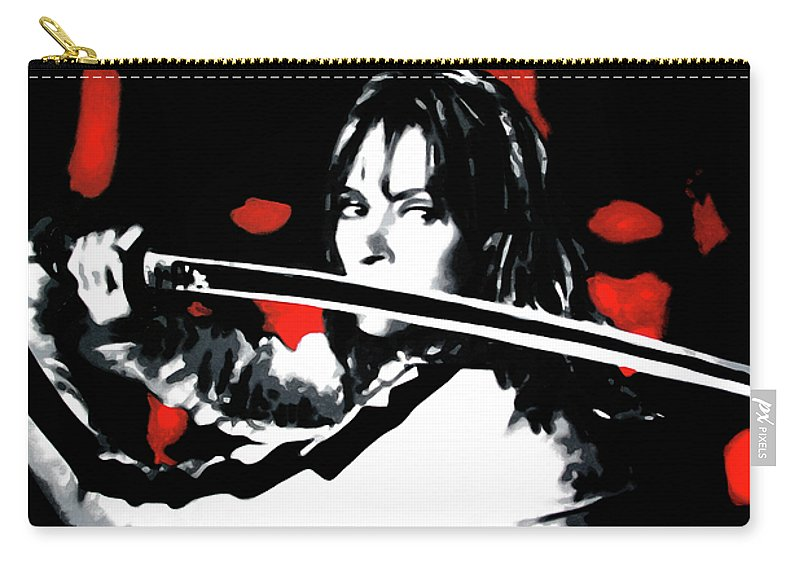 Uman Therman Carry-all Pouch featuring the painting Kill Bill by Luis Ludzska