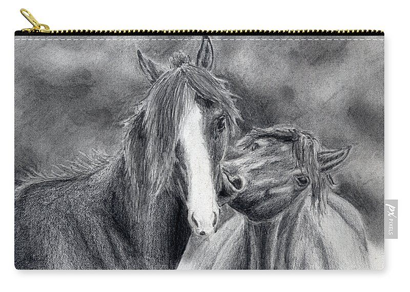 Horse Drawings Carry-all Pouch featuring the drawing Love Bite by Anna Katherine