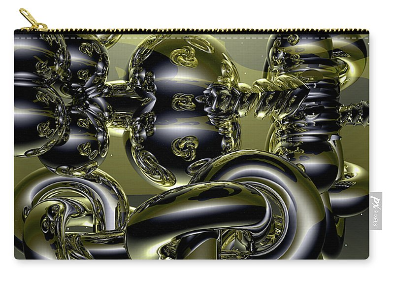 Gold Carry-all Pouch featuring the digital art Twisted Logic by Robert Orinski