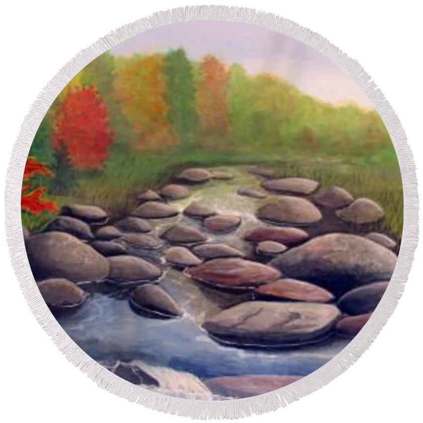 Rick Huotari Round Beach Towel featuring the painting Cherokee Park by Rick Huotari