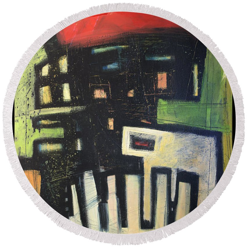 Abstract Round Beach Towel featuring the painting D Flat by Tim Nyberg