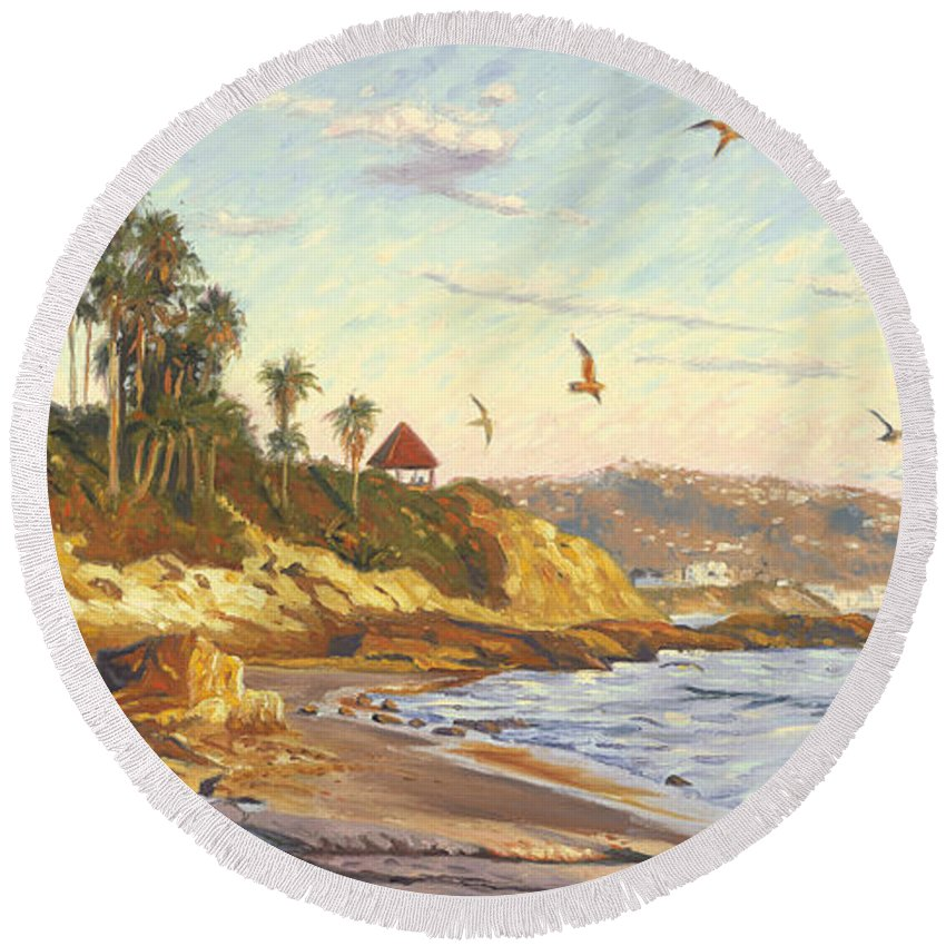 Twilight Round Beach Towel featuring the painting Heisler Park Rockpile At Twilight by Steve Simon