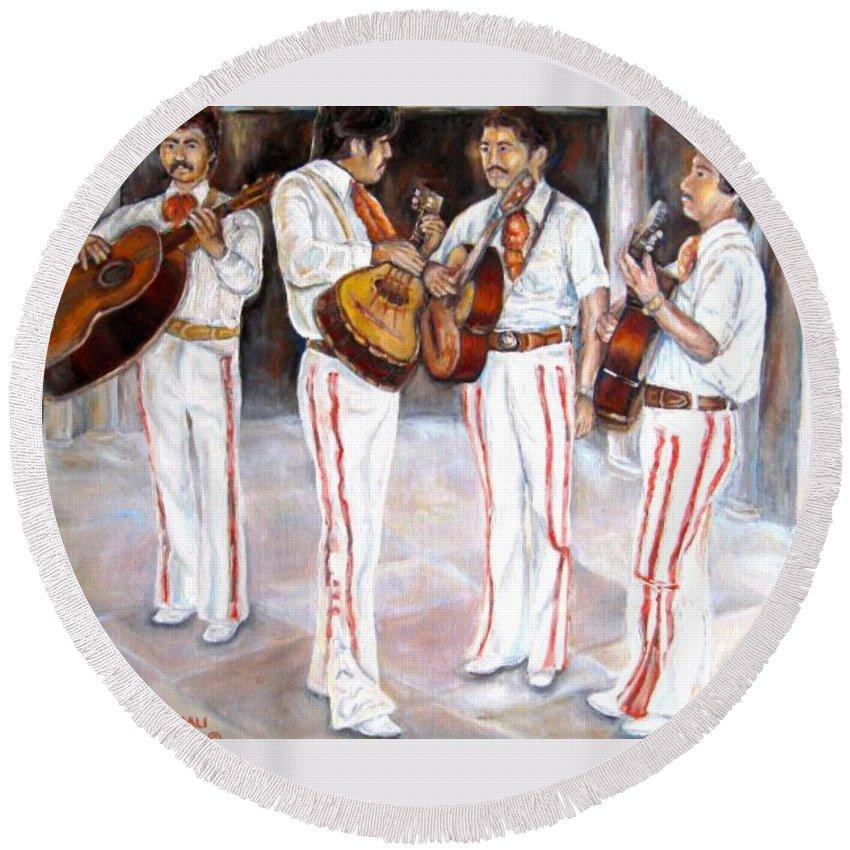 Mariachis Round Beach Towel featuring the painting Mariachi Musicians by Carole Spandau