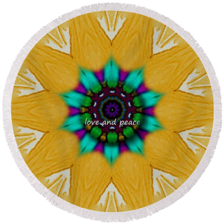 Collageart Round Beach Towel featuring the mixed media Love And Peace Art by Pepita Selles