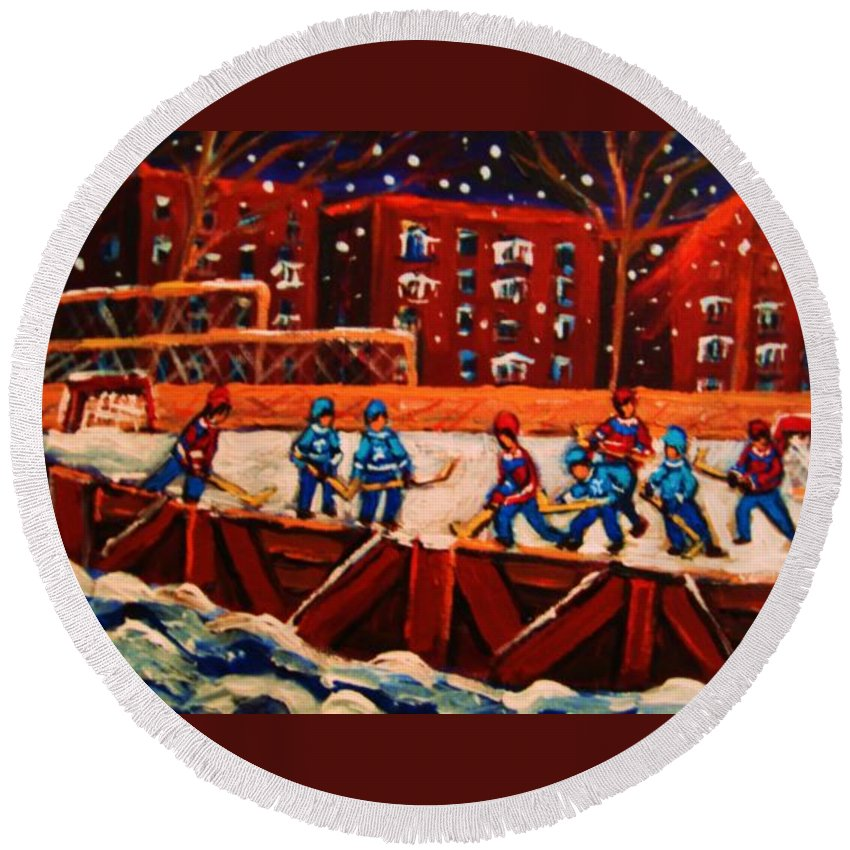 Ice Hockey Round Beach Towel featuring the painting Snow Falling On The Hockey Rink by Carole Spandau